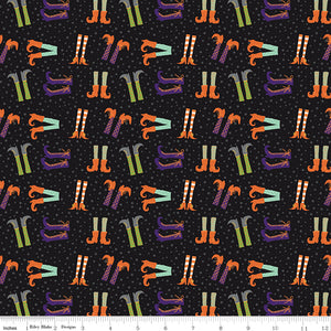 Hocus Pocus Cotton Print - Witch Feet on Black