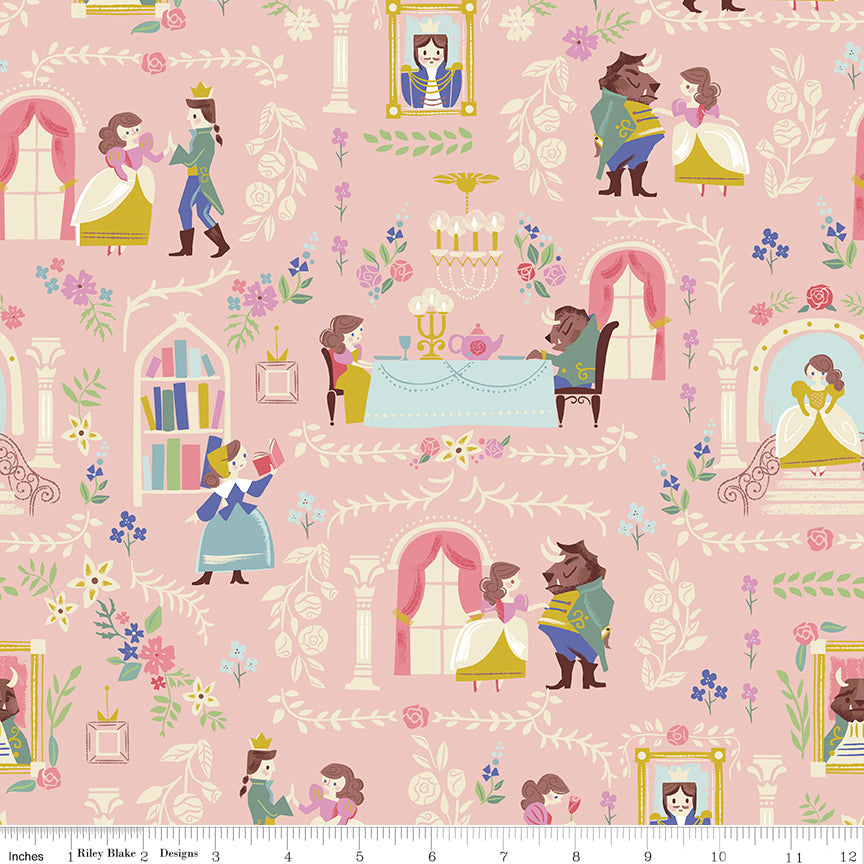 Beauty and the Beast Cotton Print - Pink Beauty and the Beast Main