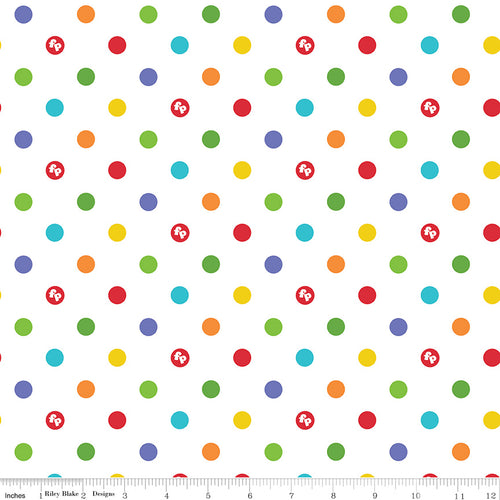 Fisher-Price Cotton Print - White Fisher-Price Dots