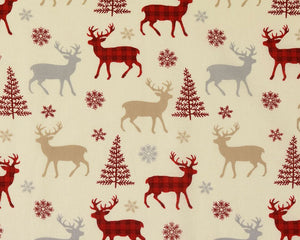 Christmas Reindeer Check Cotton Fabric