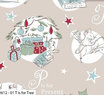 A Christmas Tail Cotton Print - T is for Tree