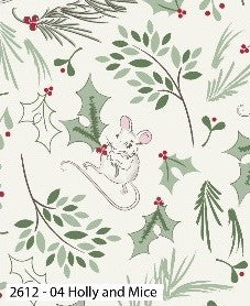 A Christmas Tail Cotton Print - Holly and Mice