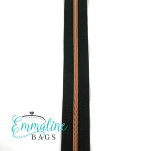 Emmaline Zipper-by-the-Yard - Size #3 - Black / Copper Coil - 3 Yards