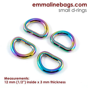 "D-rings (4 Pack) - 1/2"" (12mm) - Iridescent Rainbow"