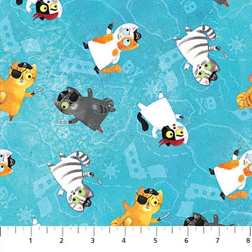 Shiver Me Whiskers Fabric Collection - Cat Pirates on Blue