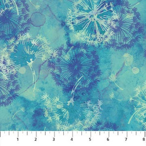 Make A Wish Fabric Collection - Dandelions on Turquoise