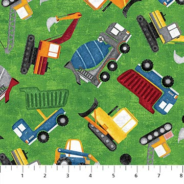 Construction Zone Fabric Collection - Tossed Vehicles Green Multi