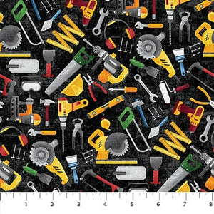 Construction Zone Fabric Collection - Tossed Tools Black Multi
