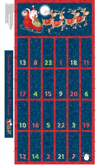 Santa Stop Here Cotton Print - Advent Panel