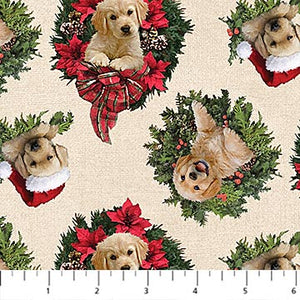 Santa's Helpers Cotton Print - Labrador Wreath on Cream