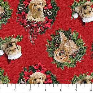 Santa's Helpers Cotton Print - Labrador Wreath on Red