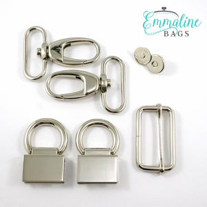 "Hardware Kit - ""The Double Flip Shoulder Bag"" by Emmaline Bags - Nickel"