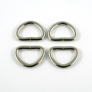 "D-rings (4 Pack) - 1/2"" (12mm) - Nickel by Emmaline Bags"