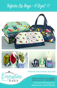 Trifecta Zip Bags Pattern by Emmaline Bags - Front Cover