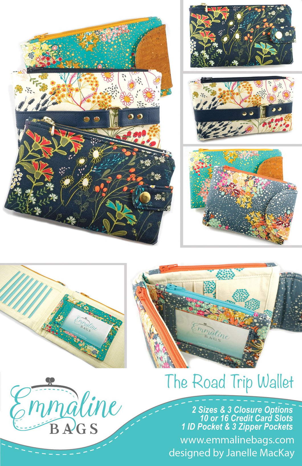 The Road Trip Wallet Pattern by Emmaline Bags - Front Cover