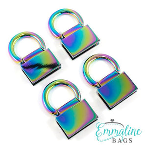 Strap Anchor: Edge Connector (4pk) - Iridescent Rainbow - Emmaline Bags