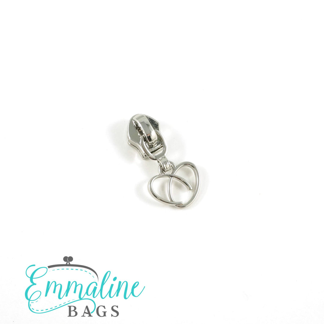 Zipper Sliders with Pulls - Size #5 - Heart Pull/ Silver