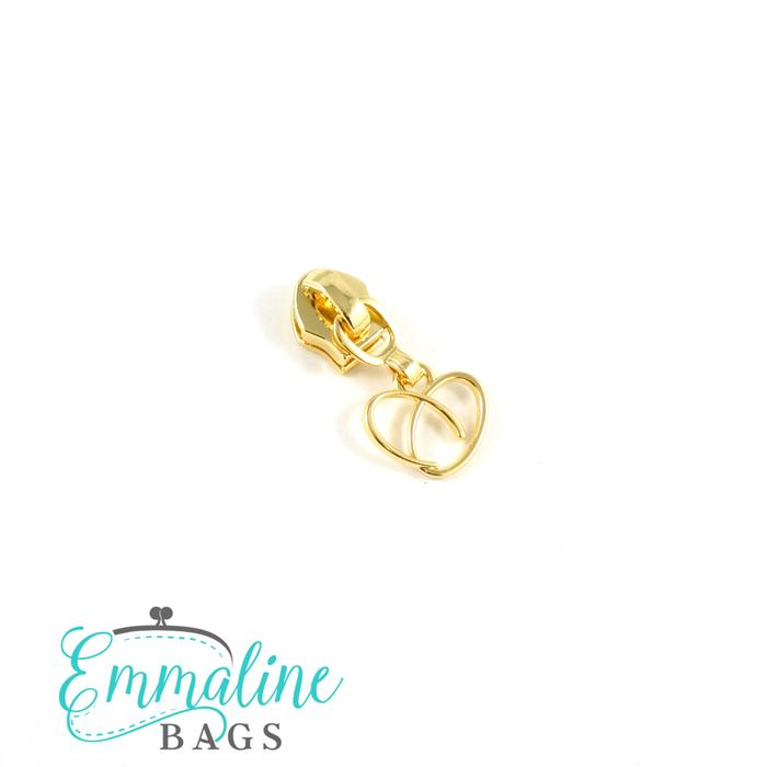 Zipper Sliders with Pulls - Size #5 - Heart Pull/ Gold - Emmaline Bags