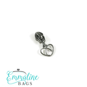 Zipper Sliders with Pulls - Size #5 - Heart Pull/ Gunmetal