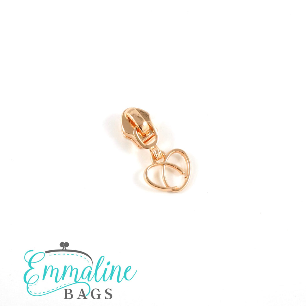Zipper Sliders with Pulls - Size #5 - Heart Pull/ Copper/Rose Gold
