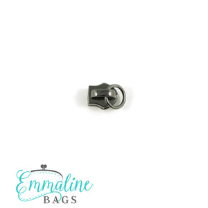 Zipper Sliders with Pulls - Size #3 - Slider with Attachment Ring/ Gunmetal