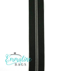 Emmaline Zipper-by-the-Yard - Size #5 - Black/ Gunmetal Coil/ 10 Yards