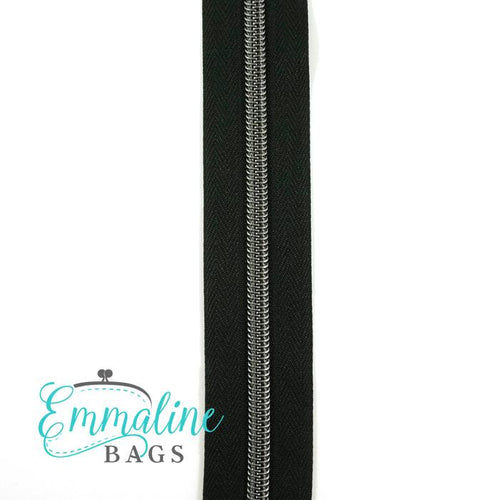 Emmaline Zipper-by-the-Yard - Size #5 - Black / Gunmetal Coil - 3 Yards