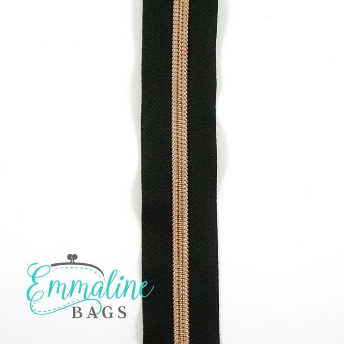Emmaline Zipper-by-the-Yard - Size #5 - Black / Rose Gold Coil - 3 Yards