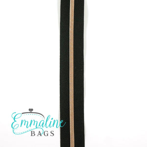 Emmaline Zipper-by-the-Yard - Size #5 - Black/ Rose Gold Coil/ 10 Yards