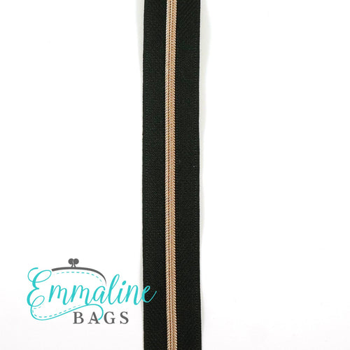 Emmaline Zipper-by-the-Yard - Size #3 - Black/ Rose Gold Coil/ 10 Yards