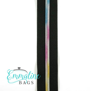 Emmaline Zipper-by-the-Yard - Size #5 - Black/ Rainbow Coil/ 10 Yards