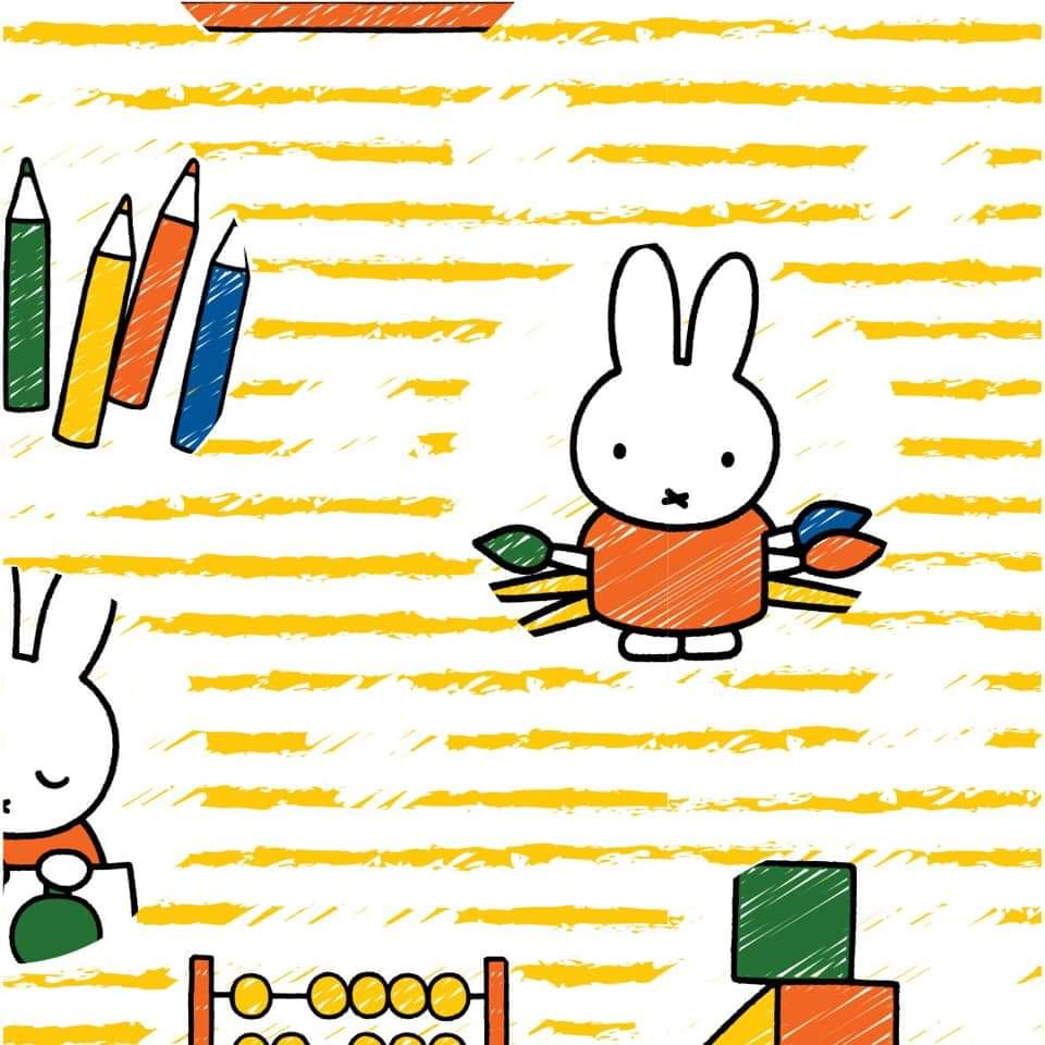 Miffy Cotton Fabric - Learning - per half metre