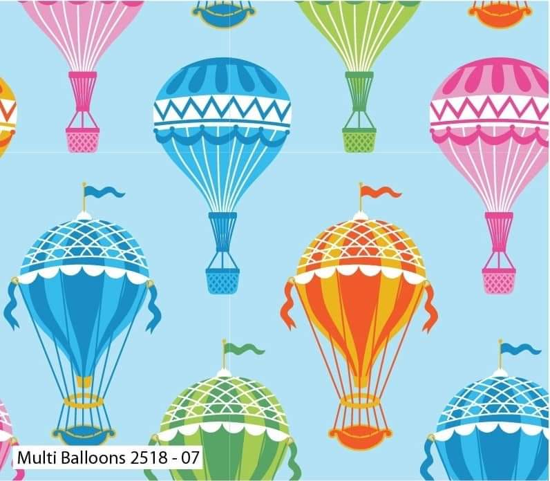 Hot Air Balloon Cotton Print - Multi Balloons - per half metre
