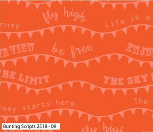 Hot Air Balloon Cotton Print - Bunting Script - per half metre