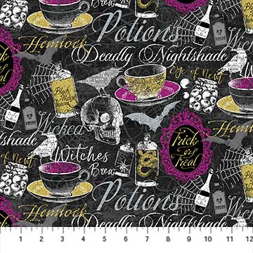Elegantly Frightful Fabric Collection - All over Print with Glitter