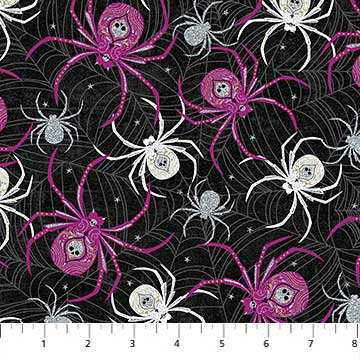 Elegantly Frightful Fabric Collection - Spiders with Glitter