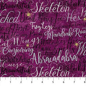 Elegantly Frightful Fabric Collection - All over Words with Glitter