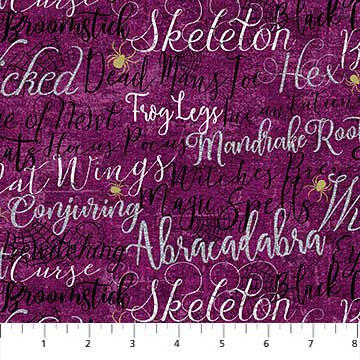 Elegantly Frightful - All over Words - per 1/4 metre
