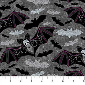 Elegantly Frightful Fabric Collection - Bats with Glitter