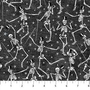 Elegantly Frightful Fabric Collection- Dancing Skeletons with Glitter