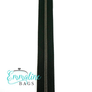 Emmaline Zipper-by-the-Yard - Size #3 - Black/ Gunmetal Coil/ 10 Yards