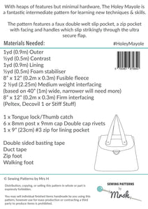 Holey Mayole - Sewing by Mrs H Bag Pattern Back