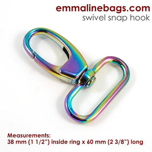 "Swivel Snap Hook: Designer Profile (2 Pack) - 1 1/2"" (38mm) - Iridescent Rainbow"