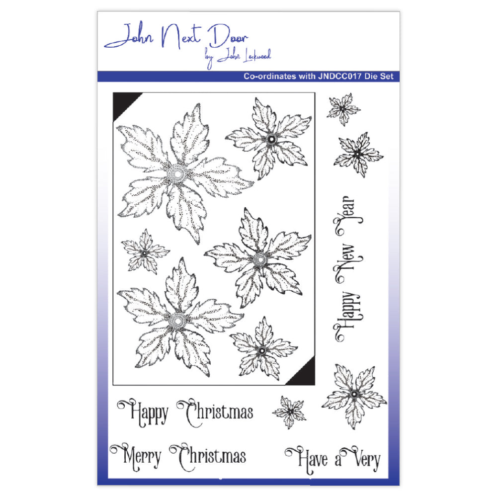John Next Door Clear Stamp - Poinsettia
