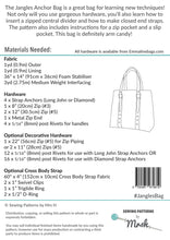 Jangles Anchor Bag - Sewing by Mrs H Bag Pattern Back