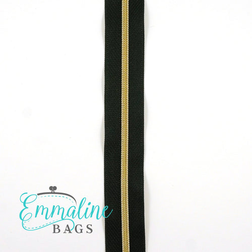 Emmaline Zipper-by-the-Yard - Size #3 - Black/ Light Gold Coil/ 3 Yards