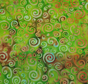 Sew Simple Stamped Batik Fabric - Lime Swirls