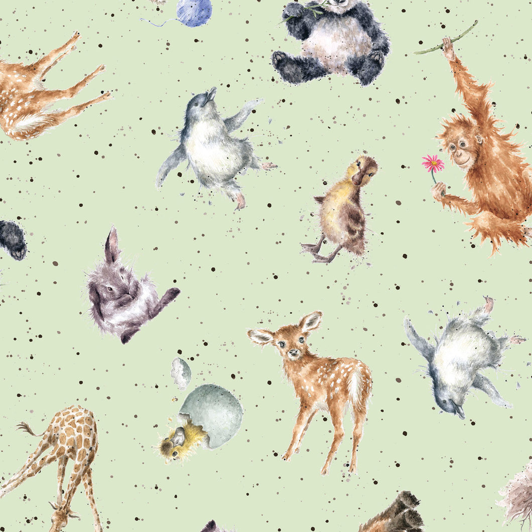 Love Is... Fabric Collection - Animals Tossed on Light Green