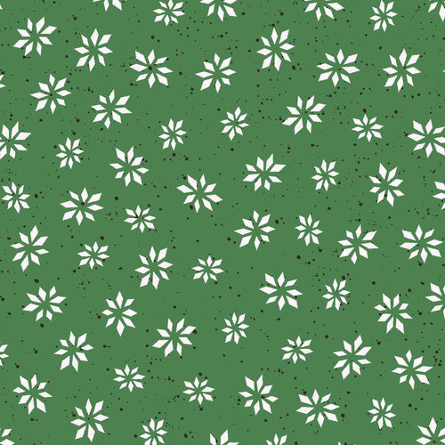 Warm Wishes by Hannah Dale of Wrendale Designs Cotton Print - Snowflake Star on Green
