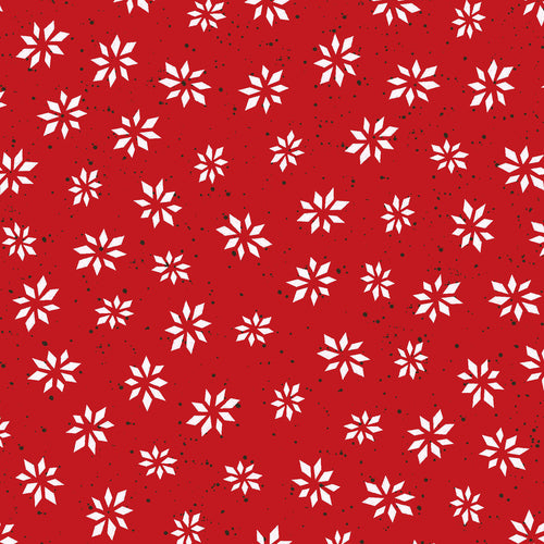 Warm Wishes by Hannah Dale of Wrendale Designs Cotton Print - Snowflake Star on Red